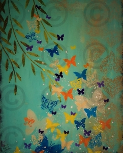 Willow Butterflies 700 mm x 1000 mm Mixed Media