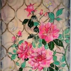 Moroccan Roses 700 mm x 1000 mm Mixed Media