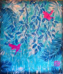 Twinray Birds in Blue Rain